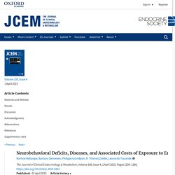 The Journal of Clinical Endocrinology & Metabolism, Volume 100, Issue 4, 1 April 2015, Neurobehavioral Deficits, Diseases, and Associated Costs of Exposure to Endocrine-Disrupting Chemicals in the European Union
