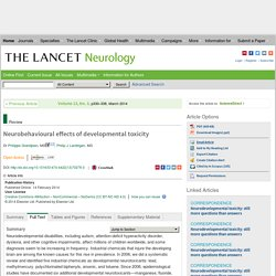 Neurobehavioural effects of developmental toxicity - The Lancet Neurology