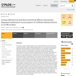Unique Behavioral and Neurochemical Effects Induced by Repeated Adolescent Consumption of Caffeine-Mixed Alcohol in C57BL/6 Mice
