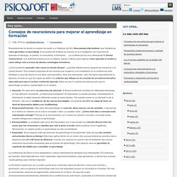Psicosoft - Consejos de neurociencia para mejorar el aprendizaje en formación