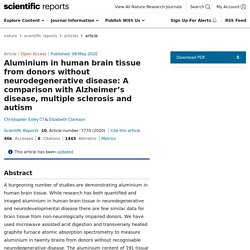 Aluminium in human brain tissue from donors without neurodegenerative disease: A comparison with Alzheimerâs disease, multiple sclerosis and autism