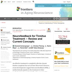 Neurofeedback for Tinnitus Treatment – Review and Current Concepts
