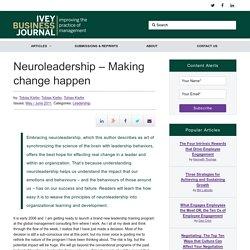 Neuroleadership – Making change happen
