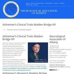 Alzheimer's Clinical Trials Malden Bridge NY