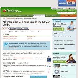 Neurological Examination of the Lower Limbs