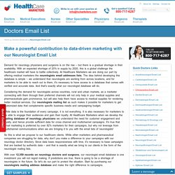 Neurologist Email List, Mailing Addresses and Database from Healthcare Marketers