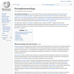 Neurophenomenology