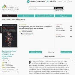 Neuroplasticité et inconscient, sujets d'articulation entre psychanalyse et neurosciences