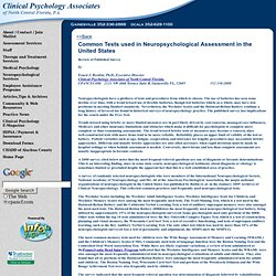 Common Tests Used in Neuropsychological Assessment
