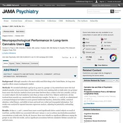 Neuropsychological Performance in Long-term Cannabis Users