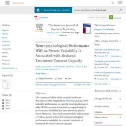 Neuropsychological Performance Within-Person Variability Is Associated with Reduced Treatment Consent Capacity
