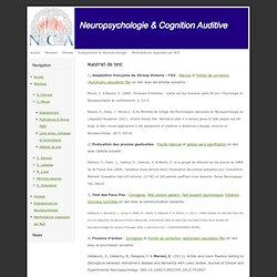 Neuropsychologie et Cognition Auditive - Matériel de test