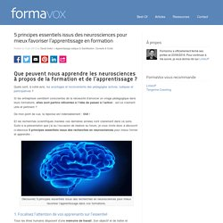 5 principes issus des neurosciences pour favoriser l'apprentissage en formationFormaVox
