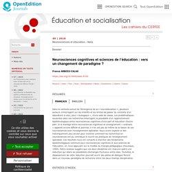 Neurosciences cognitives et sciences de l'éducation: vers un changement de paradigme?