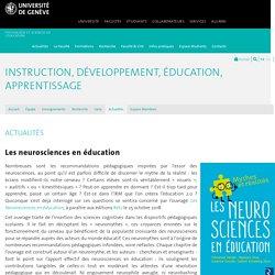 Les neurosciences en éducation - Instruction, Développement, Education, Apprentissage