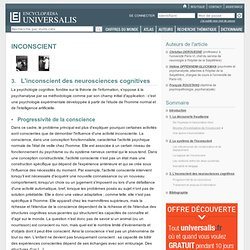 INCONSCIENT, L'inconscient des neurosciences cognitives