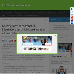 Neurosciences et éducation : 4 informations essentielles à connaitre et à transmettre