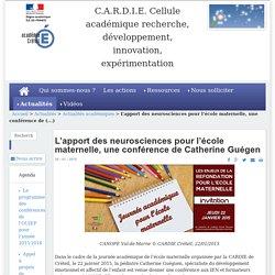 L'apport des neurosciences pour l'école maternelle, une conférence de Catherine Guégen