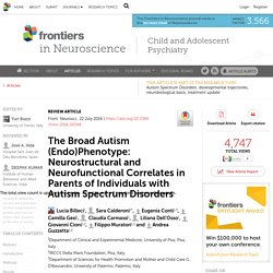The Broad Autism (Endo)Phenotype: Neurostructural and Neurofunctional Correlates in Parents of Individuals with Autism Spectrum Disorders
