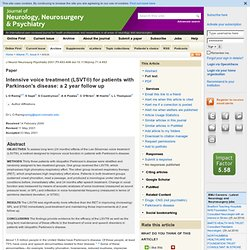 Intensive voice treatment (LSVT®) for patients with Parkinson's disease: a 2 year follow up