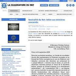 Neutralité du Net: lettre aux ministres concernés.