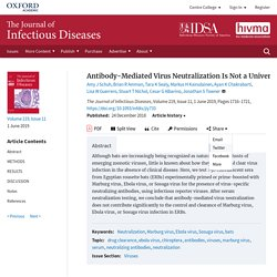 JOURNAL OF INFECTIOUS DISEASES - JUIN 2019 - Antibody-Mediated Virus Neutralization Is Not a Universal Mechanism of Marburg, Ebola, or Sosuga Virus Clearance in Egyptian Rousette Bats