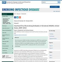 CDC EID – OCT 2015 – Au sommaire notamment: Heartland Virus Neutralizing Antibodies in Vertebrate Wildlife, United States, 2009–2014 ;