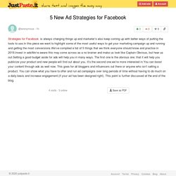 5 New Ad Strategies for Facebook