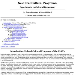 New Deal Cultural Programs