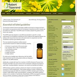 New Essential Oil Label Guidelines