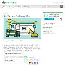 New Evernote Tables and More