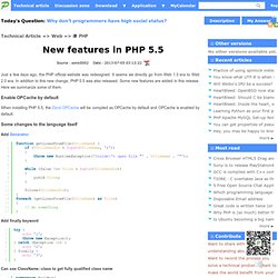 New features in PHP 5.5