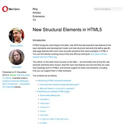 New Structural Elements in HTML5