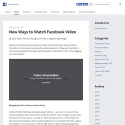 New Ways to Watch Facebook Video