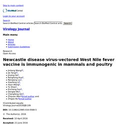 VIROLOGY JOURNAL - 2016 - Newcastle disease virus-vectored West Nile fever vaccine is immunogenic in mammals and poultry