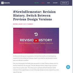 #NewInElementor: Revision History. Switch Between Previous Design Versions - Elementor