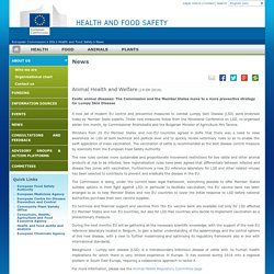 EUROPE 14/09/16 Exotic animal diseases: The Commission and the Member States move to a more preventive strategy for Lumpy Skin Disease