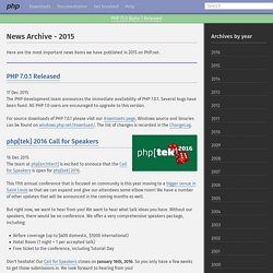 PHP: News Archive - 2015