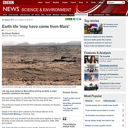 Earth life 'may have come from Mars'