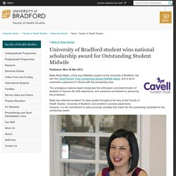 University of Bradford student wins national scholarship award for Outstanding Student Midwife