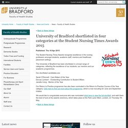 University of Bradford shortlisted in four categories at the Student Nursing Times Awards 2015