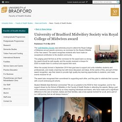 University of Bradford Midwifery Society win Royal College of Midwives award