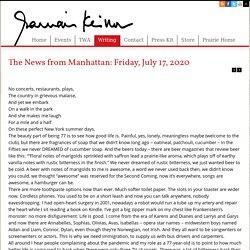 The News from Manhattan: Friday, July 17, 2020 - Garrison Keillor