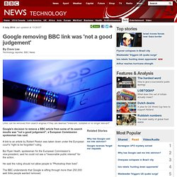 Google removing BBC link was 'not a good judgement'