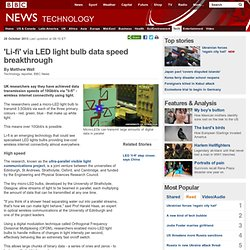 'Li-fi' via LED light bulb data speed breakthrough