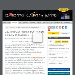 U.S. News' 2017 Ranking Of The Best Online MBA Programs
