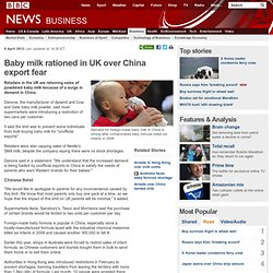 Danone baby milk rationed in the UK over China 'export' fear
