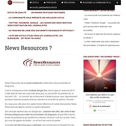 Outils et services web de qualités pour journalistes, blogueurs - NewsRessources