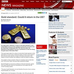 Gold standard: Could it return in the US?