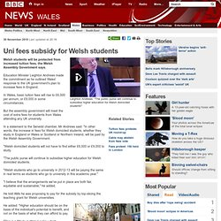 Uni fees subsidy for Welsh students